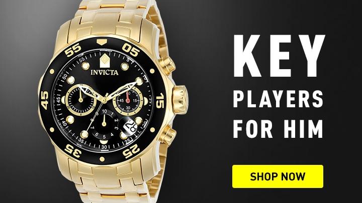 Key Players for him 678-667 Invicta 48mm Pro Diver Scuba Quartz Chronograph Bracelet Watch w 8-Slot Dive Case