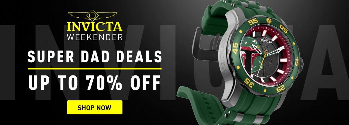 Invicta Weekender Super Dad Deals up to 70% off 676-606 Invicta Star Wars 48mm Pro Diver Scuba Quartz Limited Edition Silicone Strap Watch