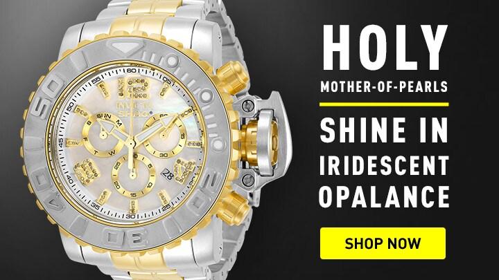 Holy Mother-of-Pearls Shine in Iridescent Opalance 679-462 Invicta Shaq 58mm Sea Hunter Gen III Ltd Ed Swiss Quartz Chronograph Diamond Acct Watch w1-Slot DC