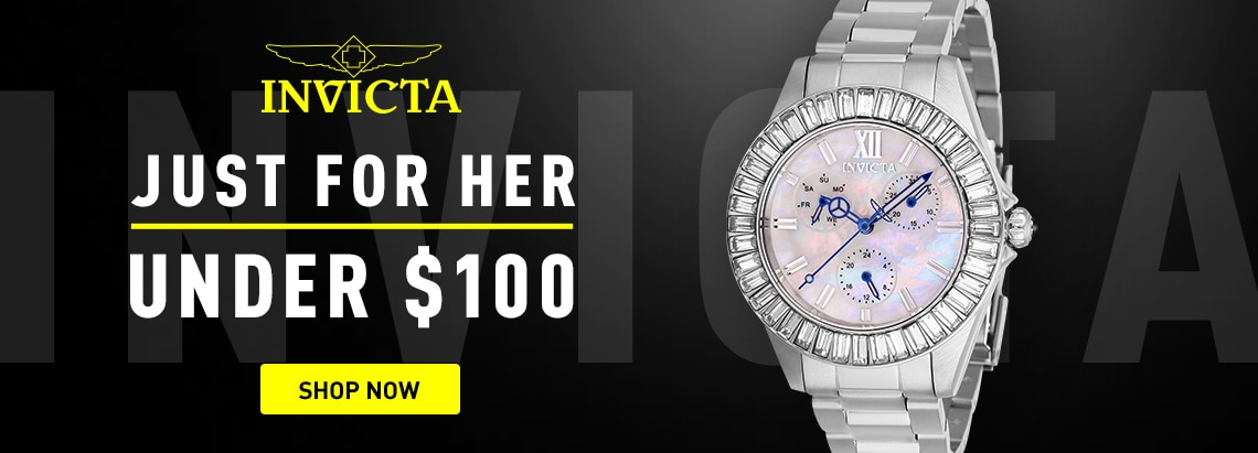 Invicta Just for Her Under $100 676-465 Invicta Women's Angel Quartz Multi Function Crystal Accented Bracelet Watch