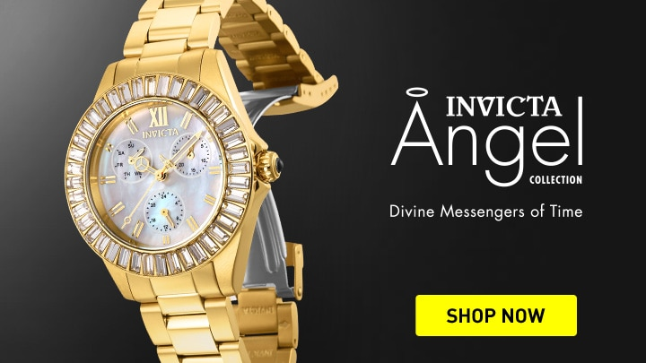 676-465 Invicta Women's Angel Quartz Multi Function Crystal Accented Bracelet Watch
