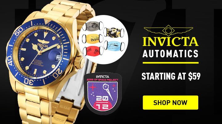 686-334 Invicta 40mm Pro Diver Automatic Watch w Set of Face Masks & Iron-On Patch