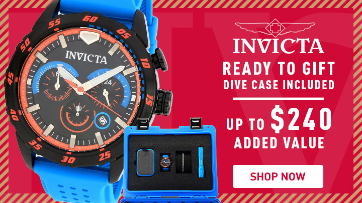 Invicta Ready to Gift Dive Case Included Up to $240 Added Value - 684-824 INVICTA 46MM S1 RALLY QUARTZ CHRONO STRAP WATCH W BRACELET, FLASH LIGHT & 8DC