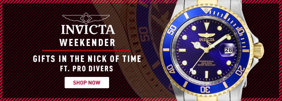 Invicta Weekender Gifts in the Nick of Time Ft. Pro Divers - 661-518 Invicta 40mm Pro Diver Quartz Magnified Date Window Stainless Steel Bracelet Watch