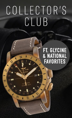 Collector's Club Ft. Glycine & National Favorites -  683-156 Glycine 44mm Airman 44 Bronze GMT Swiss Made Automatic Brown Leather Strap Watch