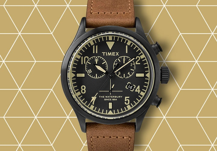 681-058 Timex 42mm Originals Quartz Chronograph Leather Strap Watch