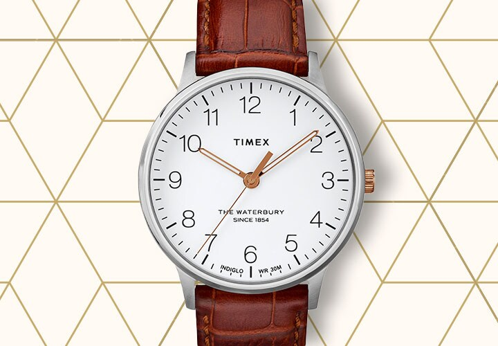 682-086 Timex Men's 40mm Originals Quartz Brown Leather Strap Watch