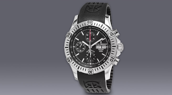 667-840 Revue Thommen Men's 45mm Air Speed Swiss Made Automatic Black Dial Chronograph Rubber Strap Watch