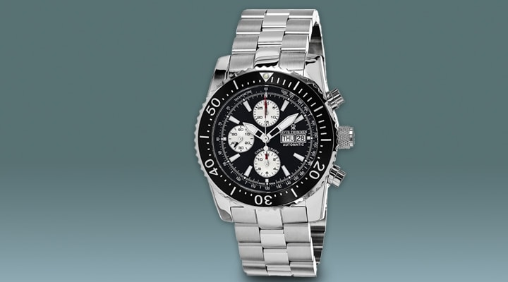 637-257 Revue Thommen 45mm Air Speed Swiss Made Valjoux 7750 Automatic Stainless Steel Bracelet Watch