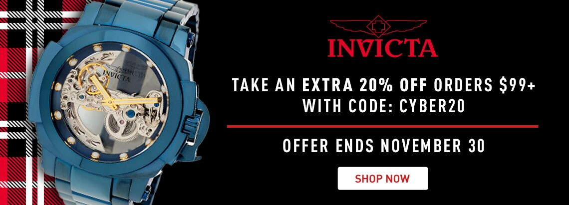Take an Extra 20% Off Orders $99+ with Code: CYBER20 Offer Ends November 30 - 674-062 Invicta 54mm Man of War Ghost Blue Label Auto Skeletonized Dial Bracelet Watch