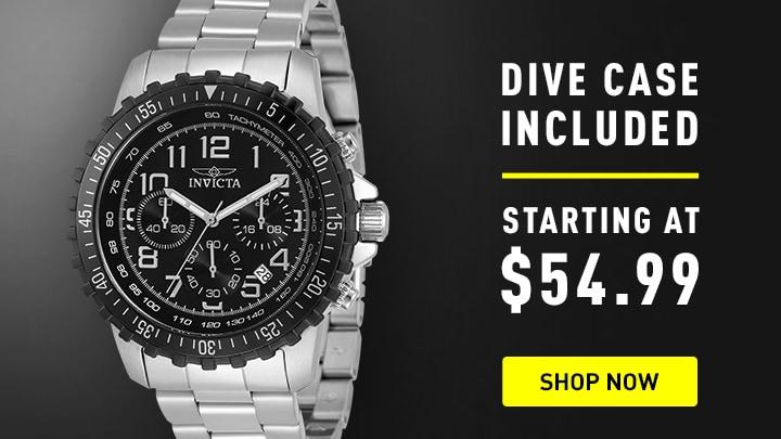 680-956 Invicta 45mm Specialty Pilot Quartz Chronograph Bracelet Watch w 3-Slot Dive Case