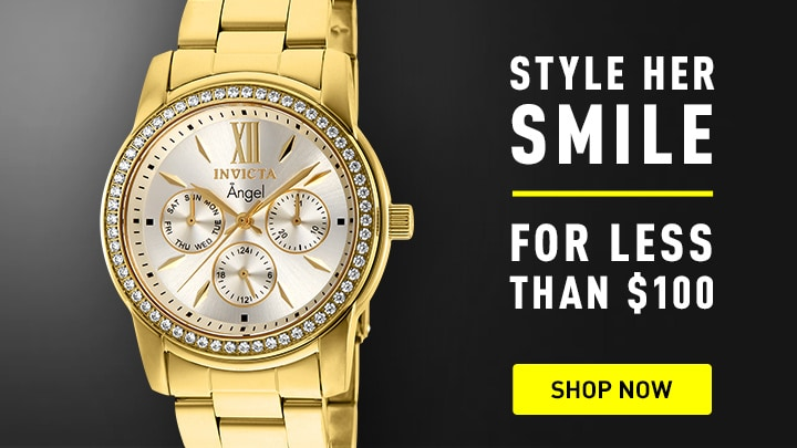 Style Smile - 663-798 Invicta Women's Angel Quartz Chronograph Day & Date Crystal Accented Gold-tone Bracelet Watch