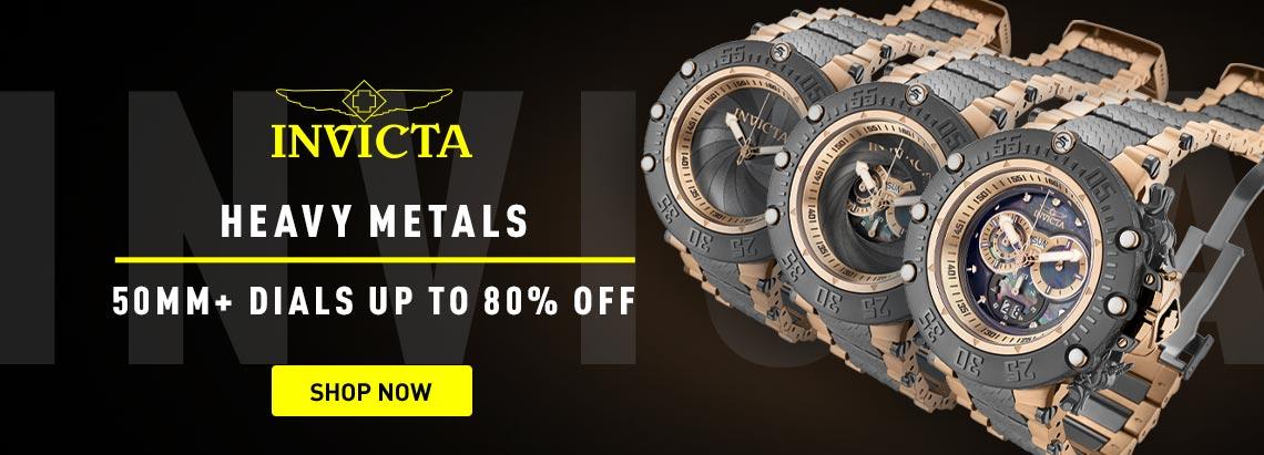 Invicta Heavy Metals 50mm+ Dials Up to 80% Off 679-354 Invicta Men's 52mm Subaqua Noma VII Shutter Swiss Quartz Chronograph Bracelet Watch