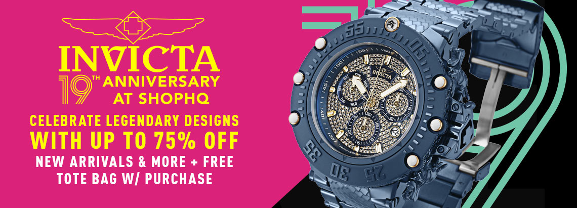 Invicta 19th Anniversary Celebrate Legendary Designs with Up to 75% Off New Arrivals & More + Free Tote Bag w Purchase