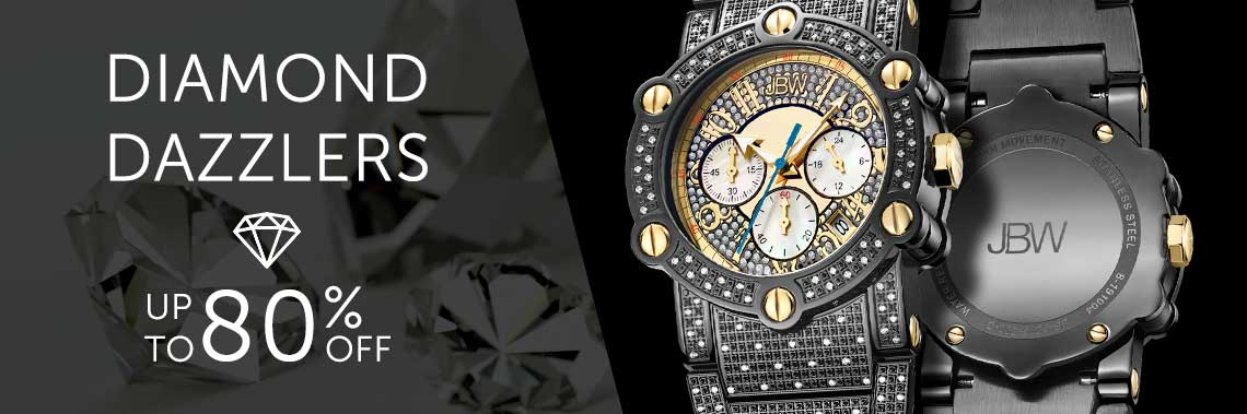 Diamond Dazzlers Up to 80% OFF - 679-891 JBW Men's 42mm Phantom Diamond Accented Quartz Date Bracelet Watch