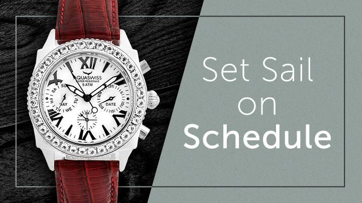 Set Sail on Schedule at ShopHQ 636-974 Aquaswiss Women's Chloe Swiss Quartz Gemstone Accented Leather Strap Watch