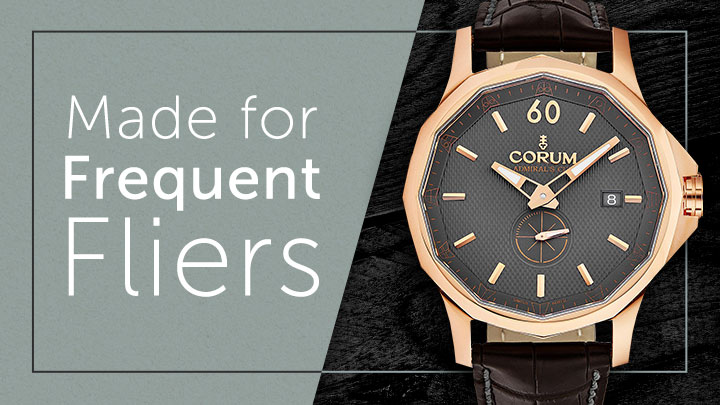 Made for Frequent Fliers at ShopHQ 679-412 Corum 42mm Admiral Cup Swiss Made Automatic Leather Strap Watch