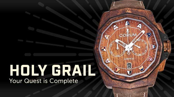 Holy Grail  Your Quest is Complete - 679-434 Corum 45mm Admiral Cup Swiss Made Automatic Wood Decorated Dial Chronograph Leather Strap Watch