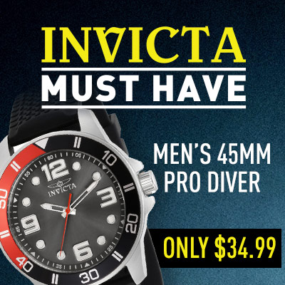 Invicta Must Have Buy Men's 45mm Pro Diver Only $34.99 - 678-929 Invicta Men's 45mm Pro Diver Quartz Silicone Strap Watch