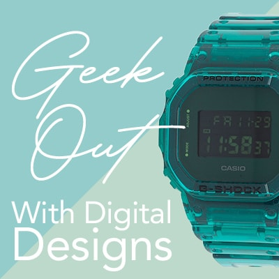 Geek Out with Digital Designs 677-538 Casio 44mm G-Shock 90's Skeleton Series Digital Strap Watch