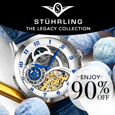 684-779 Stuhrling Original 44mm Automatic Skeletonized Dial Leather Strap Watch