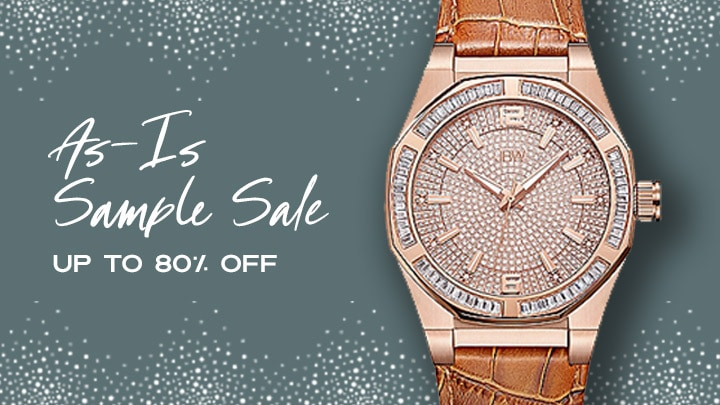 As-Is Sample Sale Up to 80% OFF at ShopHQ 647-490 JBW Men's 44mm Apollo Quartz Diamond & Crystal Accented Stainless Steel Leather Strap Watch