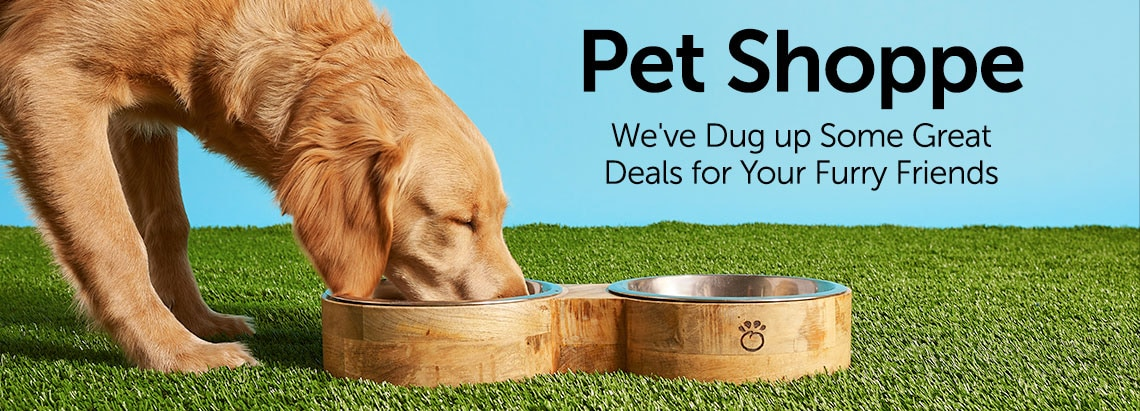 Pet Shoppe We've Dug up Some Great Deals for Your Furry Friends 489-576 GF Pet Choice of Size Mango Wood Food & Water Pet Feeder