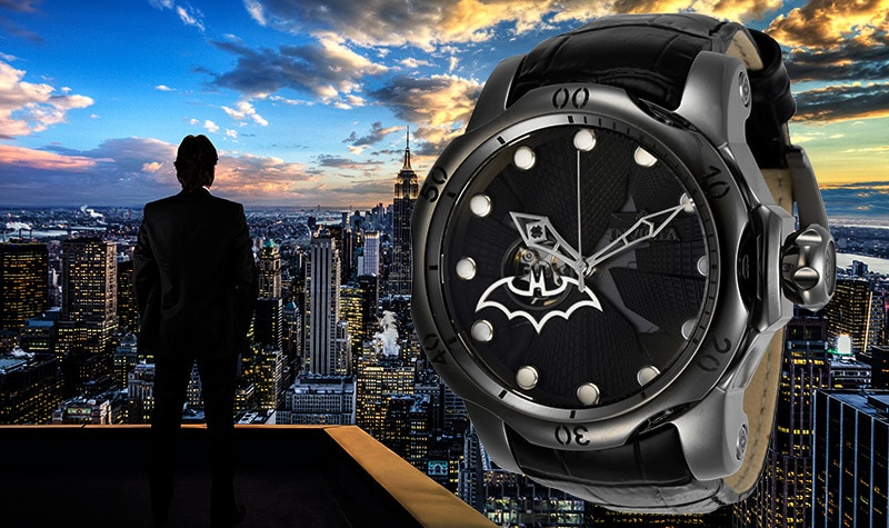 Invicta DC Comics 52mm Venom Batman Ltd Ed Automatic Open Heart Leather Strap Watch