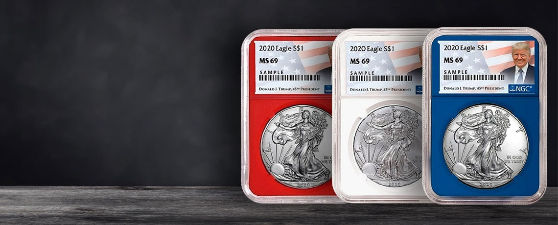 496-932 2020 Red, White and Blue Trump Set NGC MS69 w Storage Box