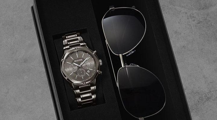 687-685  Bulova Men's 43mm Quartz Chronograph Bracelet Watch & Aviator Frame Sunglasses Set