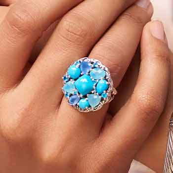 Turquoise Prized Perfection Starting At $39.99 - 194-498 Artisan Silver by Samuel B. Sleeping Beauty Turquoise & Chalcedony Ring