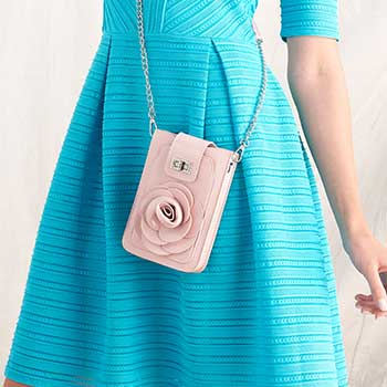 Handbags ft. Mellow World Tune in 12pm ET 752-538 Mellow World Rosa Patent Leather Flower Detailed Phone Carrier