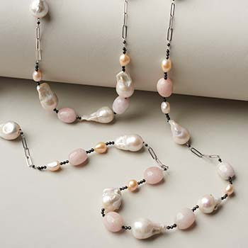 196-205 Kwan Collections Sterling Silver Cultured Pearl & Gem Paperclip Link Choice of Length Necklace