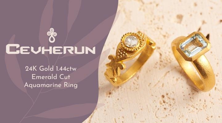 197-356 Cevehern 24K Gold 1.44ctw Emerald Cut Aquamarine Ring