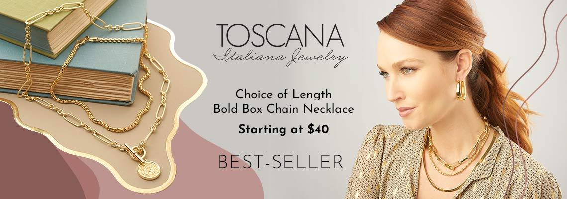190-884 Toscana Italiana Choice of Length Bold Box Chain Necklace