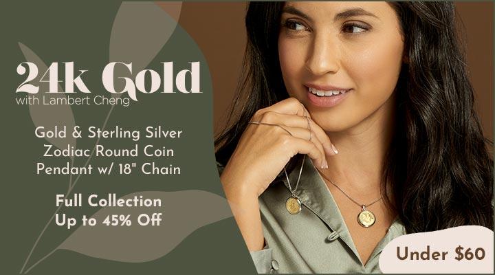 192-321 Lambert Cheng 24K Gold & Sterling Silver Zodiac Round Coin Pendant w 18 Chain