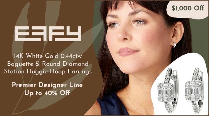 195-759 EFFY 14K White Gold 0.44ctw Baguette & Round Diamond Station Huggie Hoop Earrings