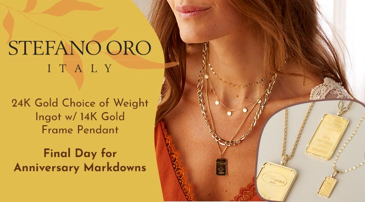 180-021 Stefano Oro 24K Gold Choice of Weight Ingot w 14K Gold Frame Pendant
