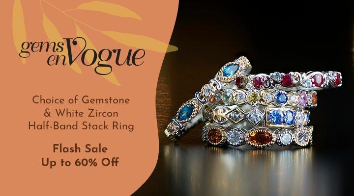 176-490 Gems en Vogue Choice of Gemstone & White Zircon Half-Band Stack Ring