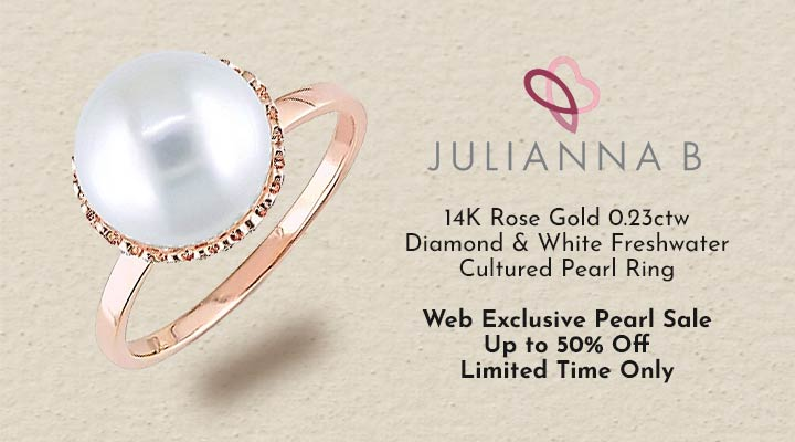 193-054 Julianna B 14K Rose Gold 0.23ctw Diamond & White Freshwater Cultured Pearl Ring