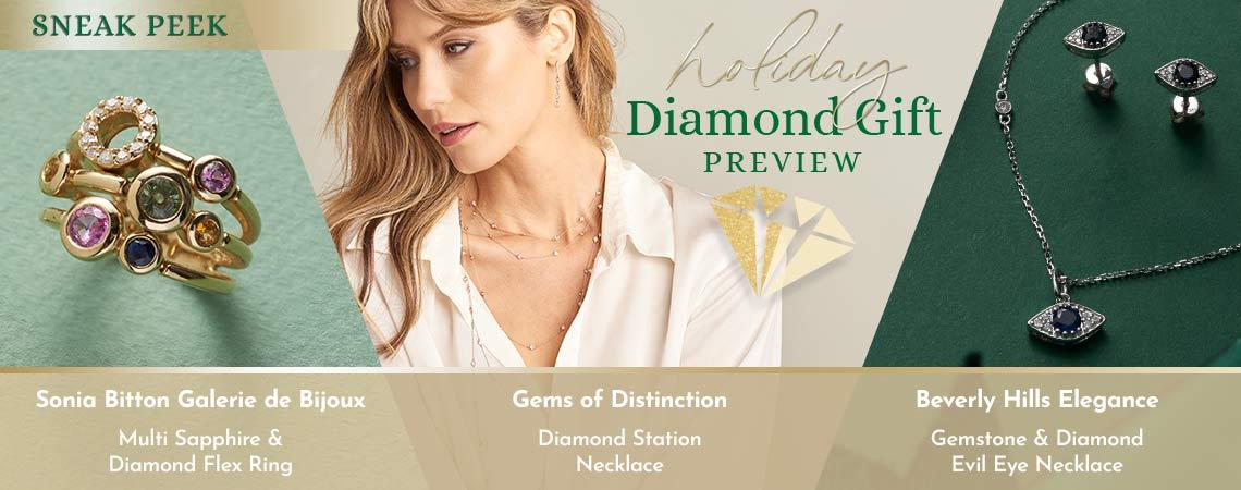 Holiday Diamond Gift Preview - 172-645 Sonia Bitton Galerie de Bijoux Multi Sapphire & Diamond Flex Ring, 170-411 Gems of Distinction Diamond Station Necklace, 200-241 Beverly Hills Elegance Gemstone & Diamond Evil Eye Necklace