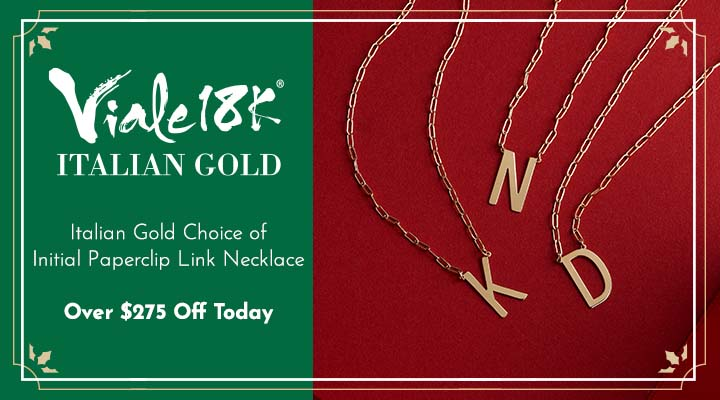 200-698 Viale Italian Gold Choice of Initial Paperclip Link Necklace