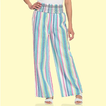 Pastels - 747-355 Fig & Vine Striped Woven Smocked Waist Wide Leg Pants
