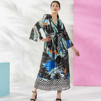 Fig & Vine Tune in 9am ET  747-420 Fig & Vine Printed & Shadow Striped Woven Bell Sleeve Maxi Dress w Waist Tie