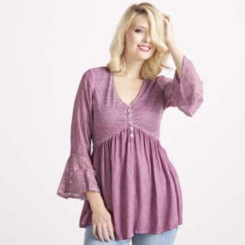 Indigo Thread Co. Tune in 10am & 1pm ET - 738-902 Indigo Thread Co.™ Woven & Lace Pigment Washed Bell Sleeve Button Front Babydoll Top