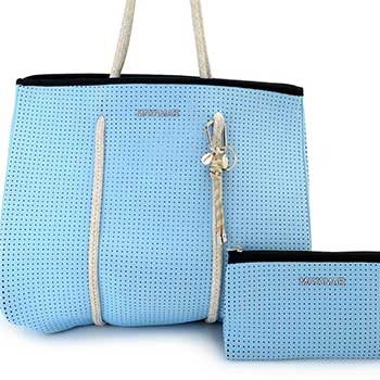 Fashion Must Haves Tune in 11am & 2pm ET - 748-929 MAYAMAR Classic Perforated Neoprene Tote Bag w Zip Pouch & Keychain