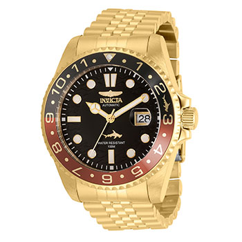 688-496 Invicta 47mm Pro Diver Automatic Magnified Date Window Gold-tone Stainless Steel Bracelet Watch