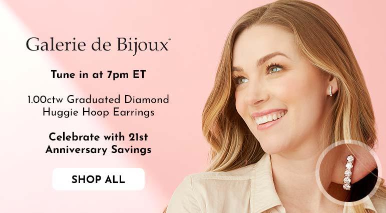 195-181 Sonia Bitton Galerie de Bijoux® 1.00ctw Graduated Diamond Huggie Hoop Earrings