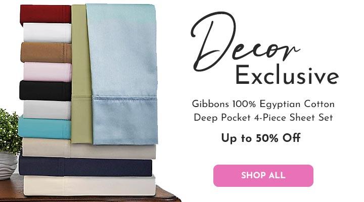 485-156 Decor Exclusive Gibbons 100% Egyptian Cotton Deep Pocket 4-Piece Sheet Set