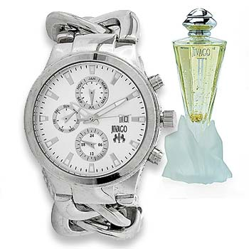 687-422 Jivago Women's Lev Swiss Quartz Master Calendar Watch w 2.5oz Eau de Parfum